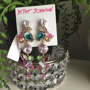 Betsey Johnson crystals dangle colored earrings